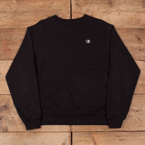 Mens Vintage Champion Black Sportswear Crew Neck Sweatshirt Jumper .