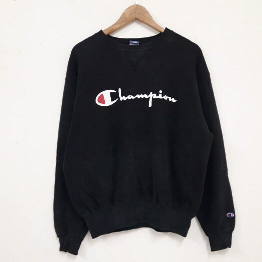 Vintage Champion Big Logo Spell Out Sweatshirts jumper Black .