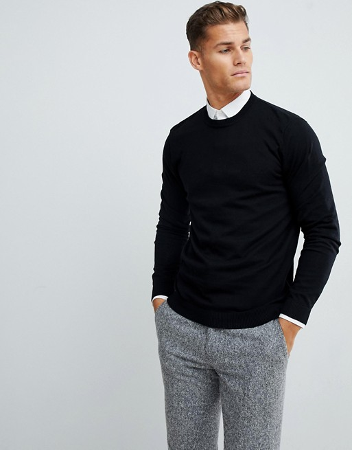 ASOS DESIGN cotton jumper in black   AS