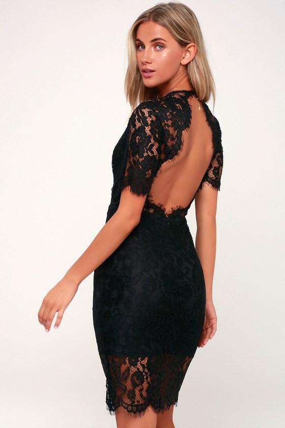 Sexy Black Dress - Midi Dress - Black Lace Dress - Backless Dre
