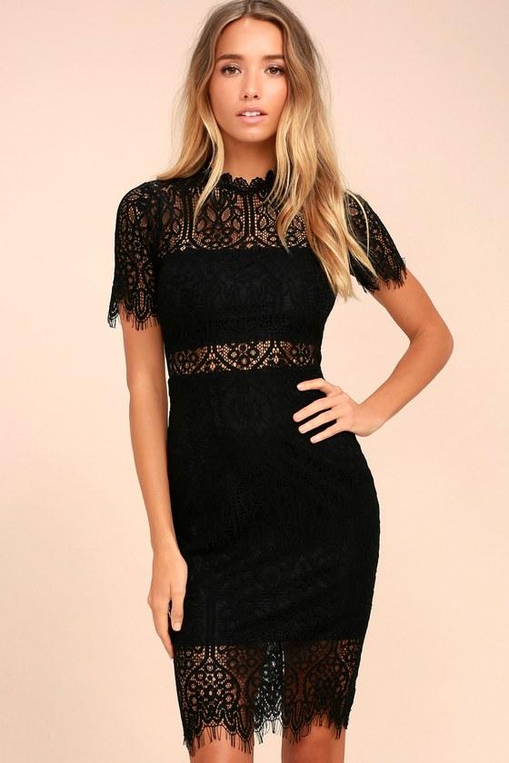 Remarkable Black Lace Dress | Lace midi dress, Lace dress black .
