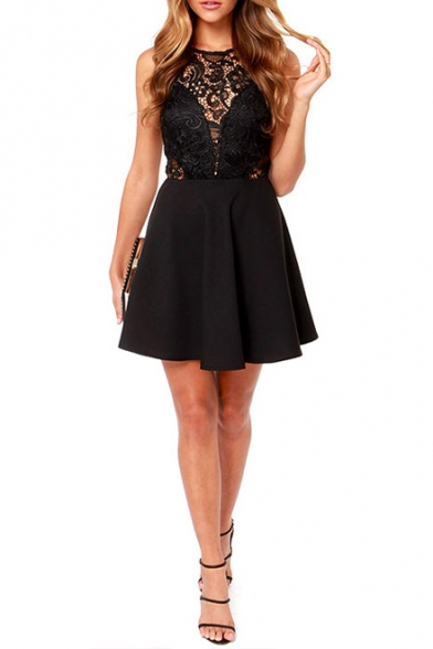Black Lace Hollow Sleeveless Top A-line Mini Dress - takeluckhome.c