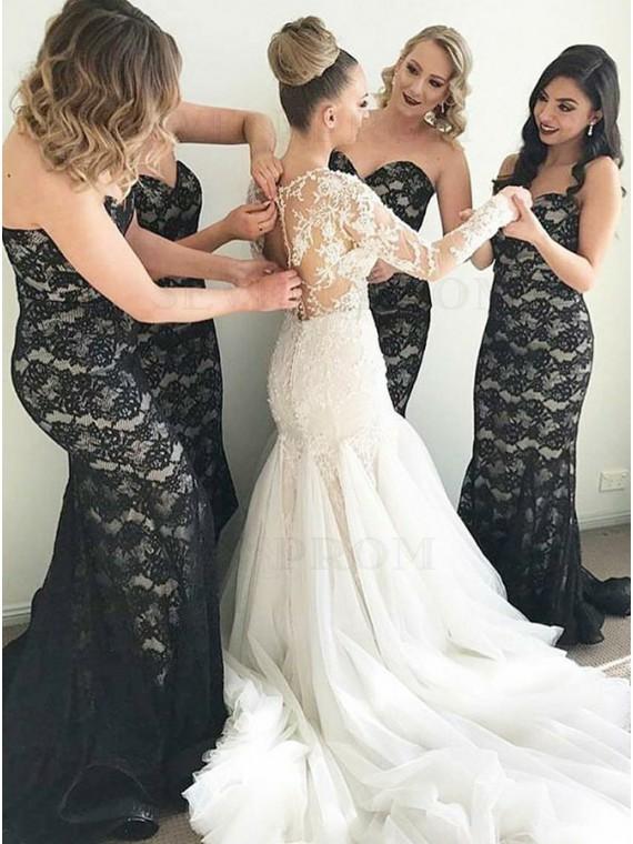 Buy Mermaid Sweetheart Sweep Train Black Lace Bridesmaid Dress .