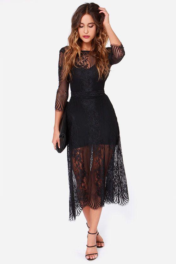 For Love & Lemons San Marcos Black Lace Maxi Dressat Lulus.com .