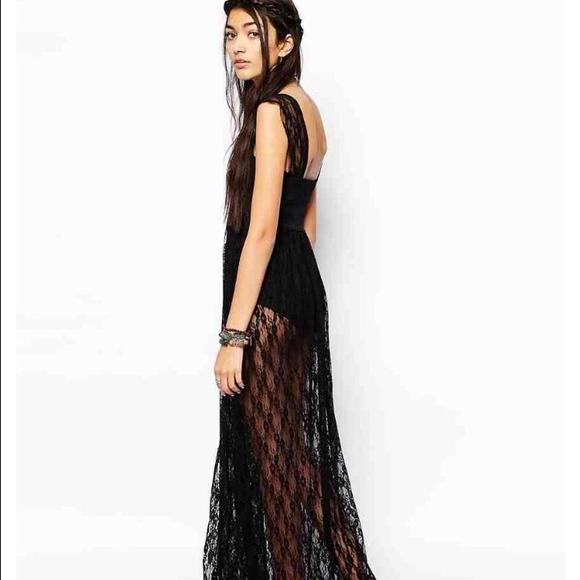 Free People Dresses | Black Lace Maxi Dress By | Poshma