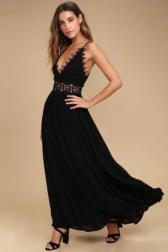 Lovely Black Maxi Dress - Lace Maxi Dress - Plunge Neck Ma