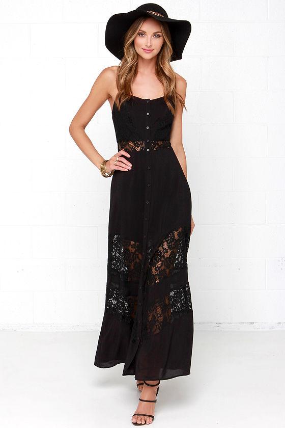Ladakh One Love Dress - Black Maxi Dress - Lace Maxi Dre