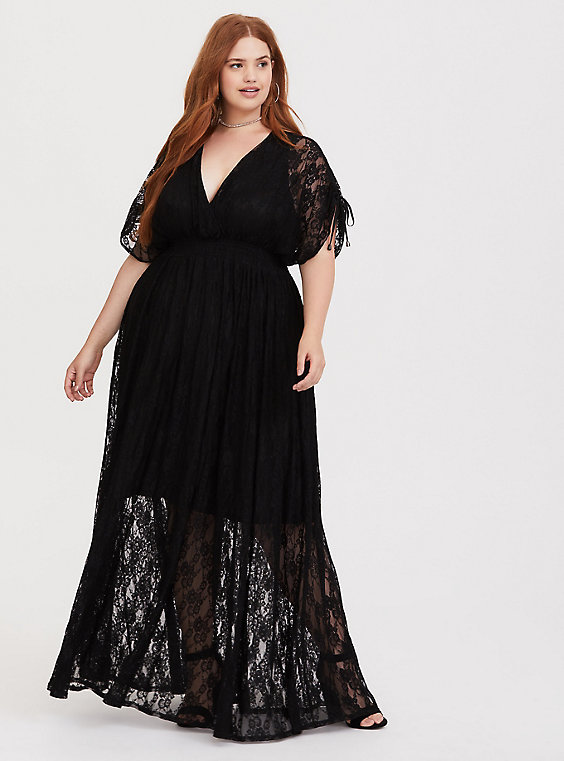 Plus Size - Black Stretch Lace Maxi Dress - Torr