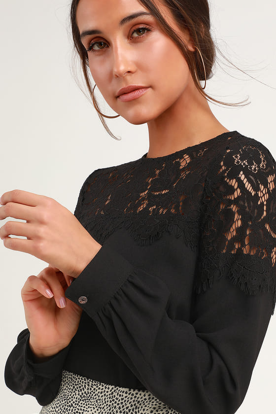 Lace Top - Black Blouse - Long Sleeve Top - Black T
