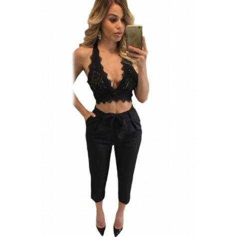 Black Lace Bralette Open Back Crop Top white (Black Lace Bralette .