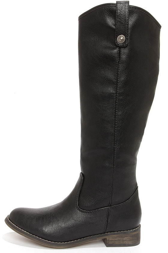 Cute Black Boots - Knee High Boots - Riding Boots - $45.