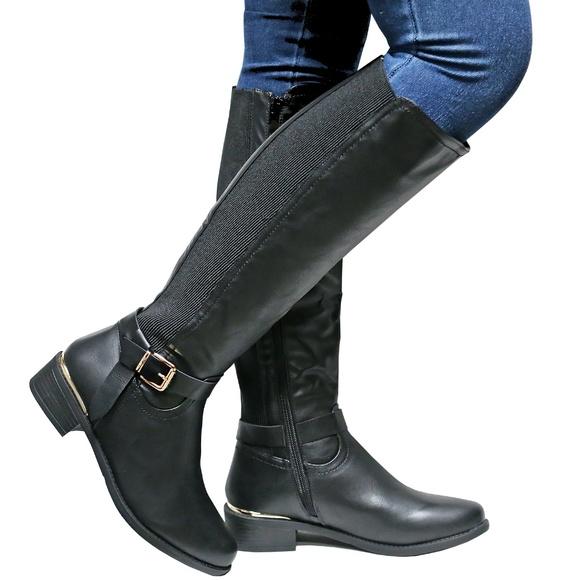 Shoes | New Black Slim Calf Knee High Riding Boots 10 | Poshma