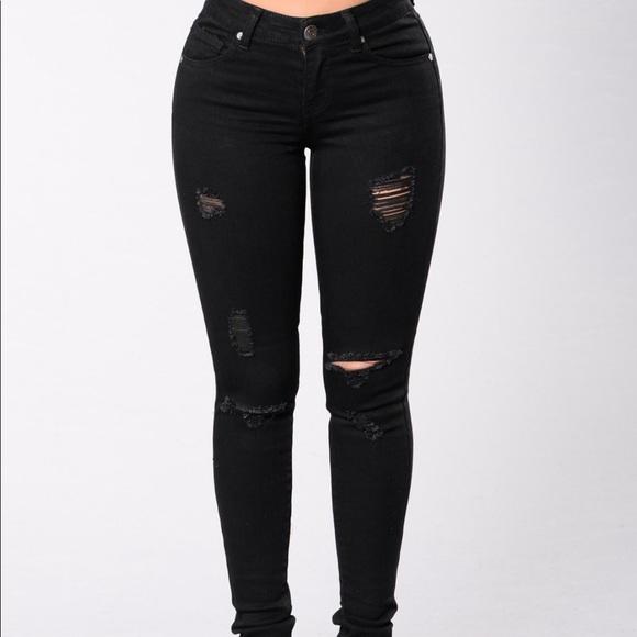 Fashion Nova Jeans | Ripped Black Skinny | Poshma
