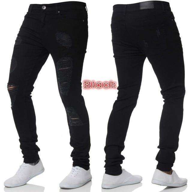 Mens Casual Skinny Jeans Pants Men Solid Black Ripped Jeans Men .