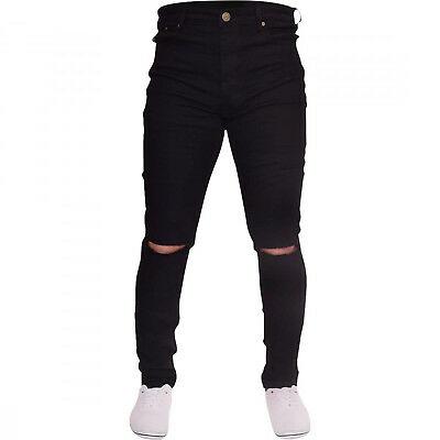 Mens Black Ripped Skinny Jeans Biker Destroyed Slim Fit Designer .