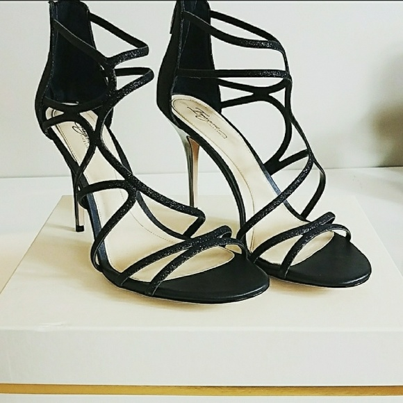 Vince Camuto Shoes | Black Sparkly Strappy Heels 12 | Poshma
