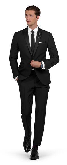 Nicholas Slim Fit Dinner Suit in True Black Wool Mohair | T.M.Lew