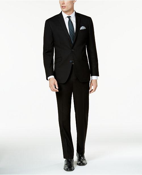 Kenneth Cole Reaction Men's Ready Flex Solid Black Slim-Fit Suit .