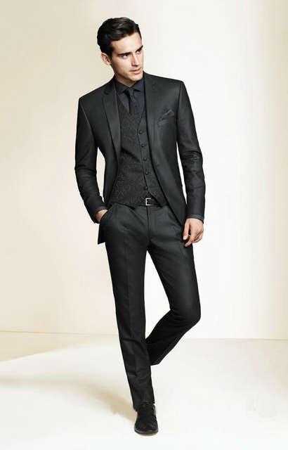 2018 Hot Sale Bespoke Men Suits Classic Slim Fit Black Wedding .