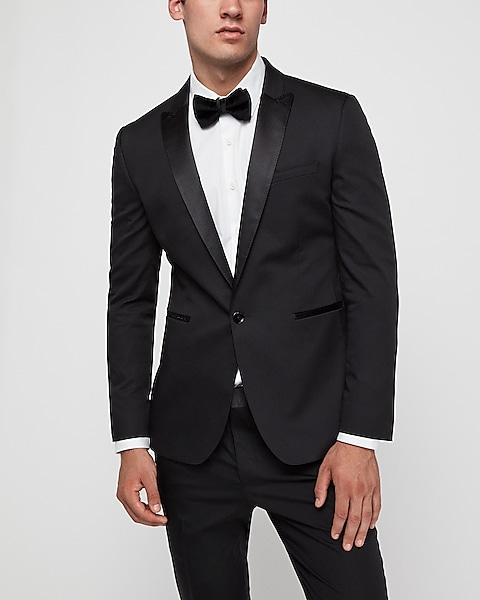 Extra Slim Black Satin Peak Lapel Tuxedo Jacket | Expre