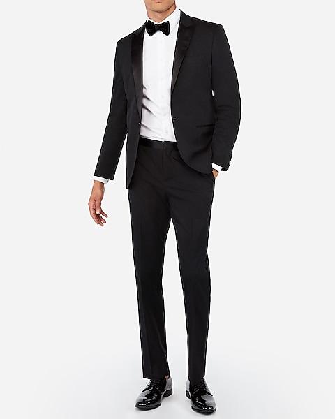 Slim Black Cotton-blend Tuxedo Pant | Expre