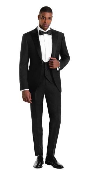 Black Peak Lapel Tuxedo - Custom Tuxedos | Black Lap