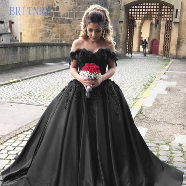 BRITNRY Elegant Lace Women Sweetehart Satin Arabic Princess Black .
