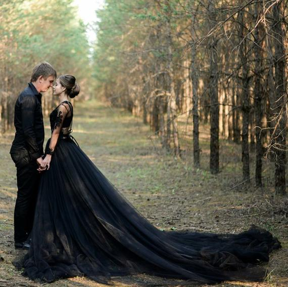 Alternative Sexy Black Wedding Dress Gothic Two Piece | Et