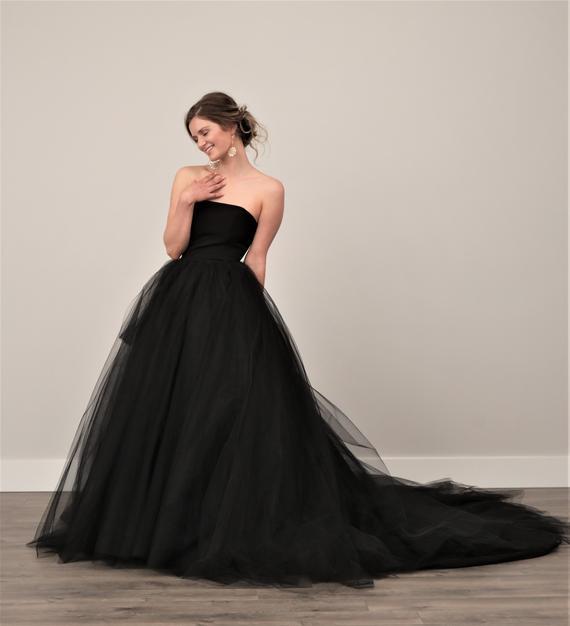 Black Wedding Dress Tulle Skirt Gothic TWILIGHT Dress Goth | Et
