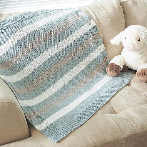 Easy Striped Baby Blanket Knitting Pattern - Dabbles & Babbl