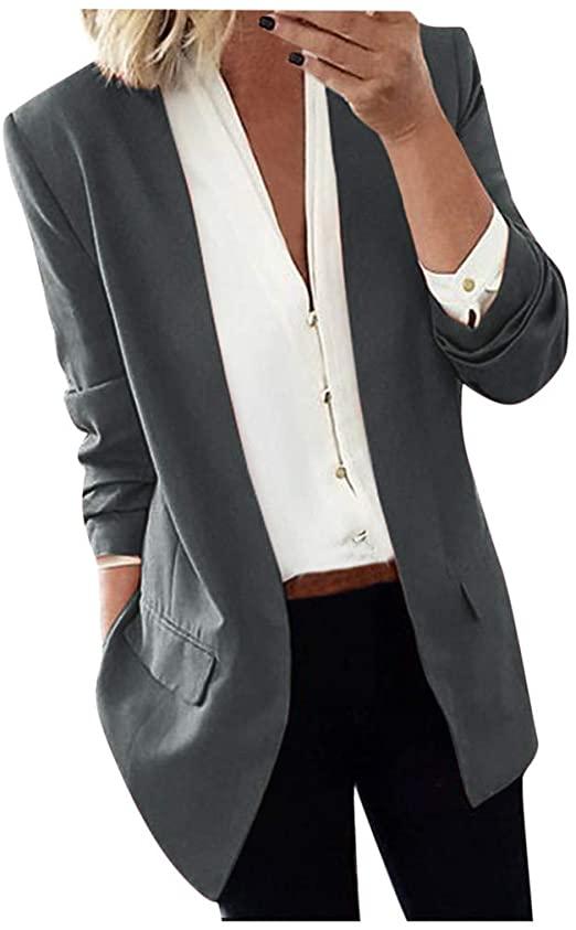 Women Lapel Light Long Coat Blazers Ladies Casual Office Jacket .