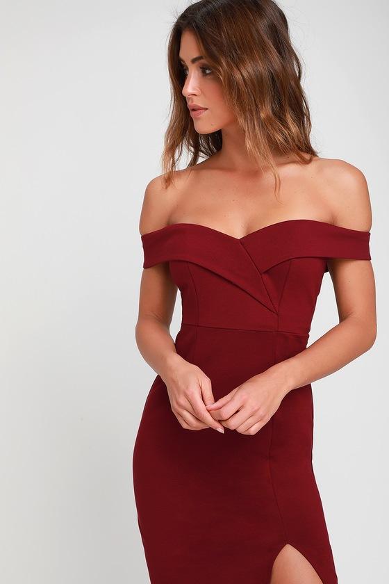 Chic Burgundy Dress - Bodycon Dress - Off-the-Shoulder Dre