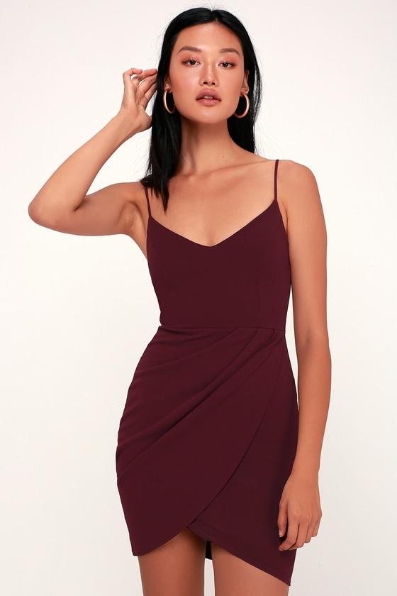Sexy Plum Purple Dress - Bodycon Dress - Wrap Dre