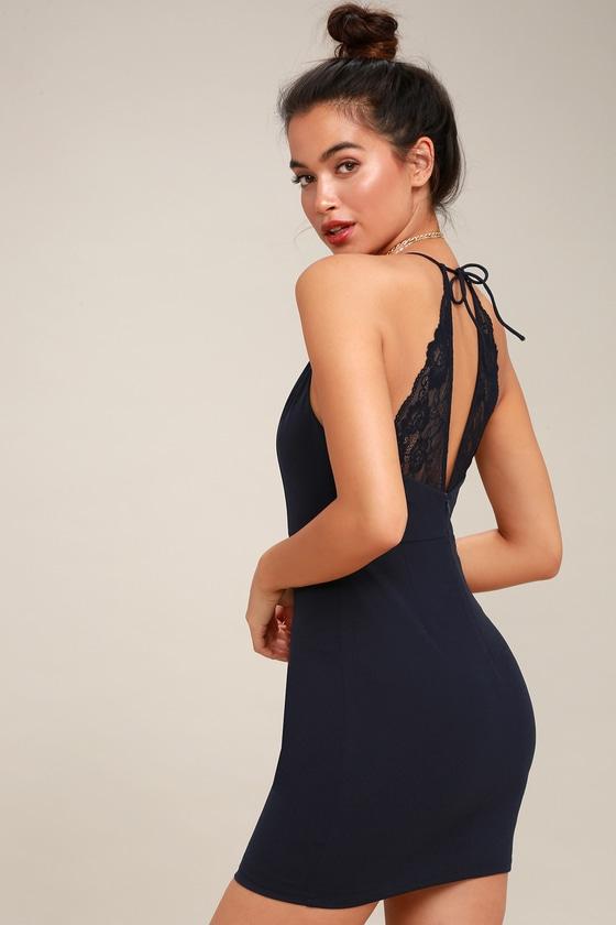 Sexy Navy Blue Dress - Halter Bodycon Dress - Lace Dre
