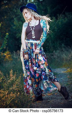 Boho style fashion. beautiful young woman wearing boho style .