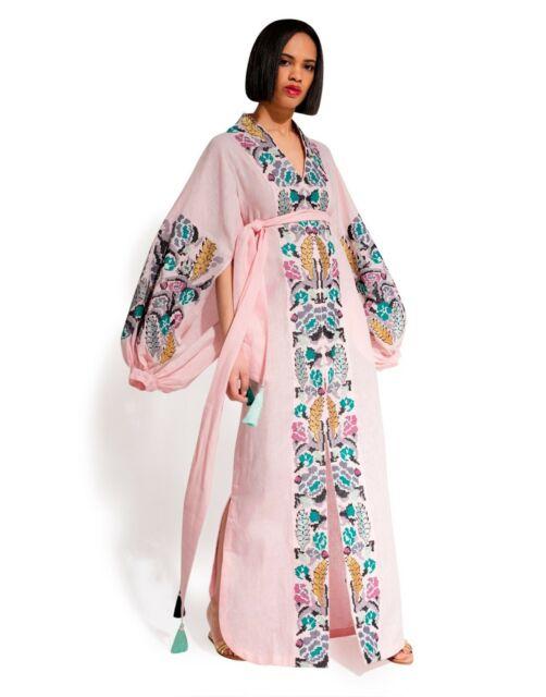 Ukrainian Embroidered Light Pink Dress Boho Style - Ethnic .