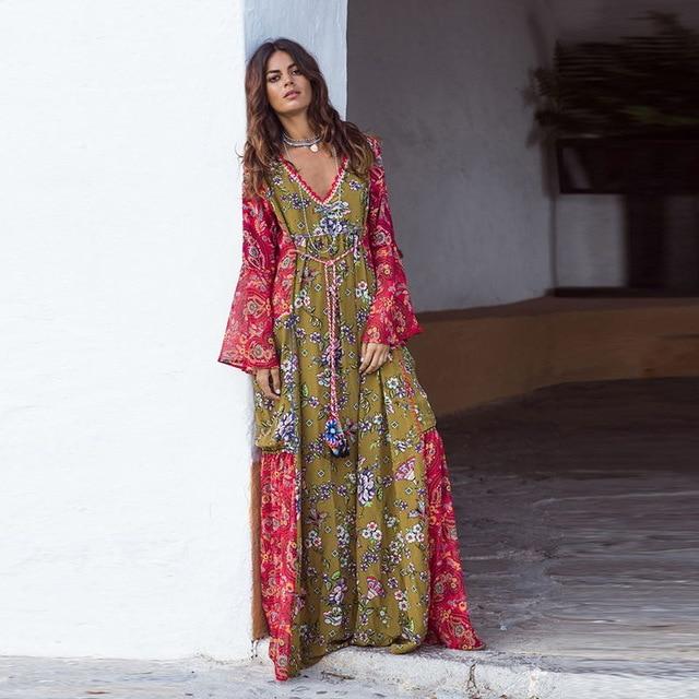 BOHOFREE Long Gown Floral Print Maxi Bohemian Dress V Neck Long .