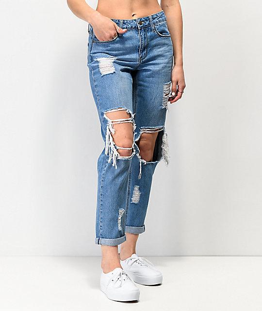 Empyre Easton Medium Wash Distressed Boyfriend Jeans | Zumi