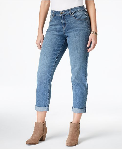 Style & Co Curvy-Fit Cuffed Boyfriend Jeans, Created for Macy's .