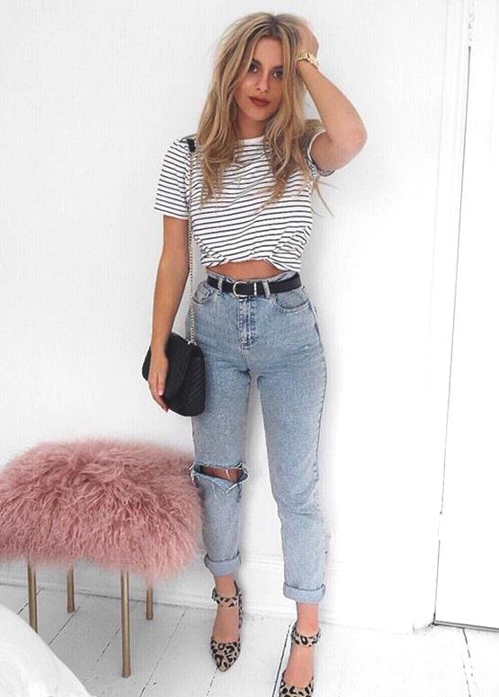 striped-black-and-white-shirt-boyfriend-jeans-outfit | Ecemel
