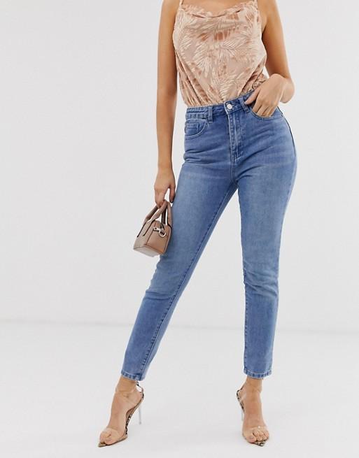 Missguided high waist boyfriend jeans in blue | AS