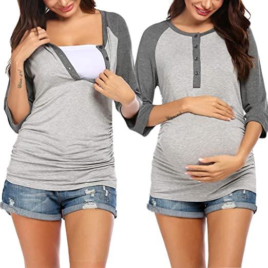 Ekouaer Women's Maternity Nursing Top 3/4 Sleeve Breastfeeding .