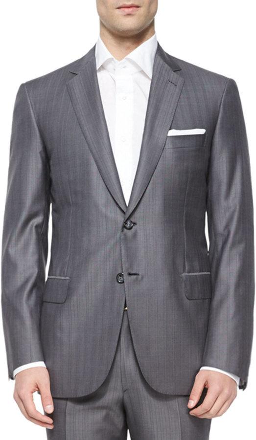 Brioni Super 150s Herringbone Striped Suit Gray, $6,495 | Neiman .