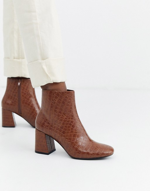 Monki croc print block heel ankle boots in brown | AS