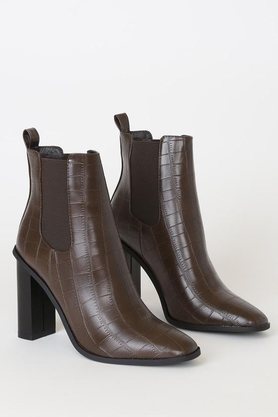 RAID Scarlette-1 Brown Booties - Ankle Booties - Crocodile Boo