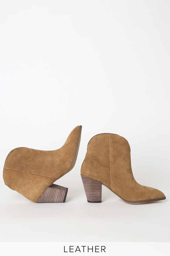 Splendid Paisley - Brown Suede Booties - Pointed-Toe Ankle Boo