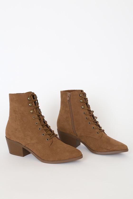 Cute Brown Booties - Lace-Up Booties - Suede Booties - Boo