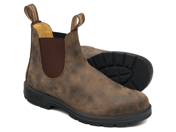 Rustic Brown Premium Leather Chelsea Boots, Men's Style 585 .