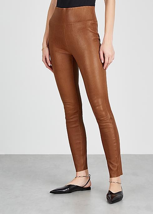 SPRWMN Brown leather leggings - Harvey Nicho