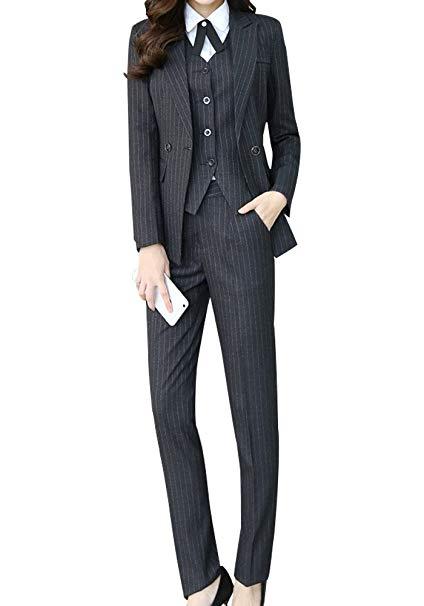 Women's Three Pieces Office Lady Stripe Blazer Business Suit Set .